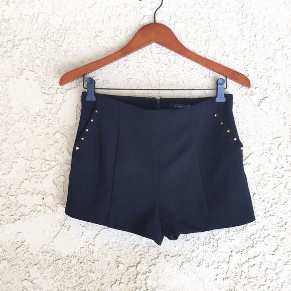 HPBlack High Waisted Shorts Cute high waisted shorts to complete any outfit These shorts are made of a soft material, zip in the back, and have studded pockets! Only worn once!!! Feel free to offer, comment, bundle, like, or buy☀️ Forever 21 Shorts