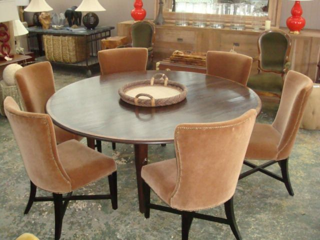 Round Oak Dining Table With Yew Wood Banding 72 Diameter Dining