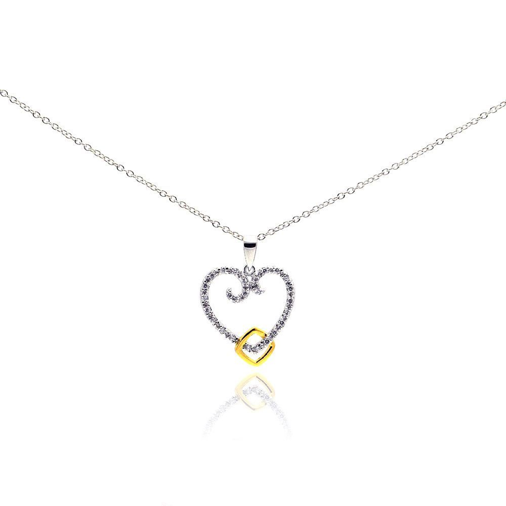 .925 Sterling Silver Gold & Rhodium Plated Open Heart Cubic Zirconia Necklace 18 Inches