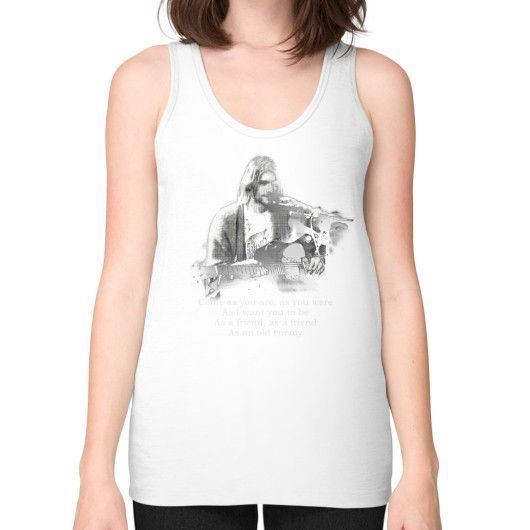 Kurt cobain come as you are Unisex Fine Jersey Tank (on woman)