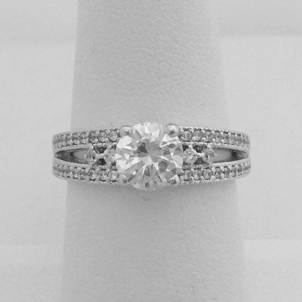 Split Shank Multi Stone Cz Engagement Ring 1 Carat Cubic Zirconia Cz Rings Engagement Engagement Rings Sparkle Jewelry