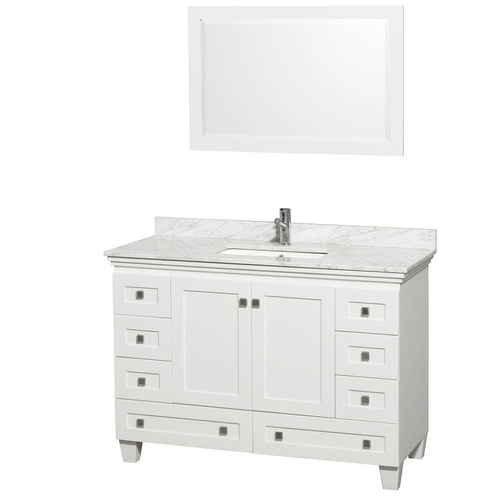 Wyndham Collection Acclaim 48 In Vanity In White With Marble Vanity Top In Carrara White Square Sink And Mirror Wcv800048swhcmunsm24 The Home Depot Marble Vanity Tops White Vanity Bathroom Single Bathroom Vanity