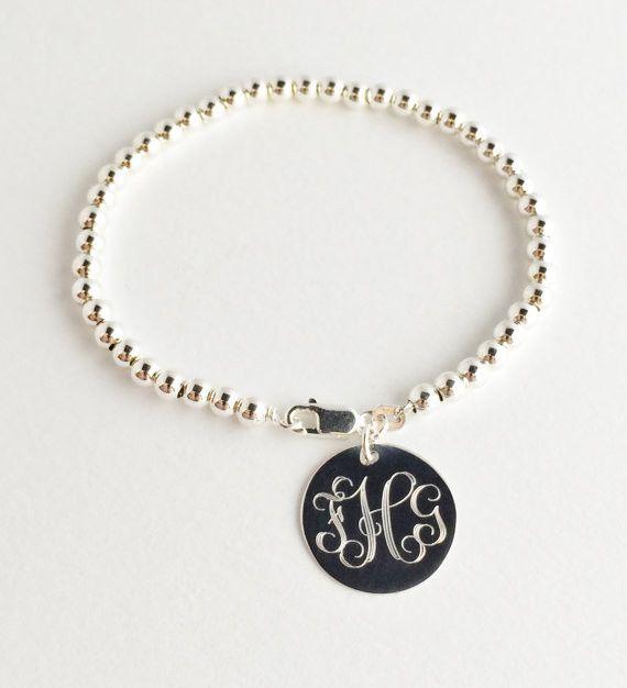 Monogram Bead Bracelet Sterling Silver Monograms And Bracelets