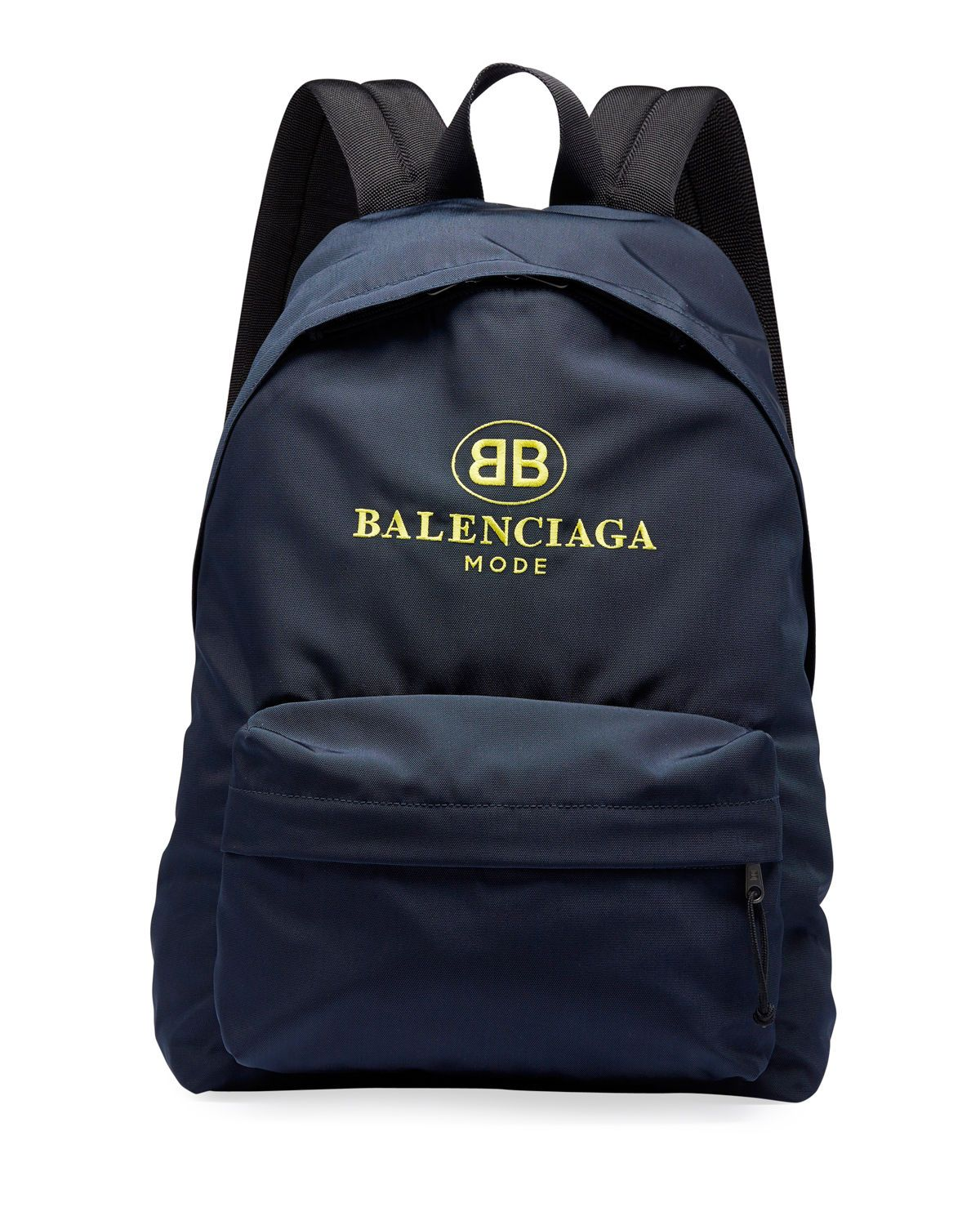 8c516113139107 BALENCIAGA MEN'S DOUBLE-B LOGO BACKPACK. #balenciaga #bags #canvas #nylon  #backpacks #polyester