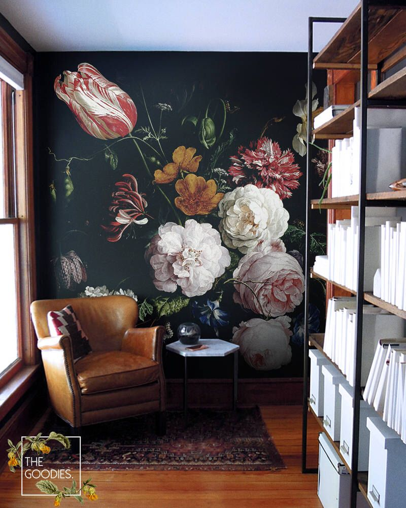Dark Floral Removable Wallpaper Dutch Flowers Oil Painting Wall