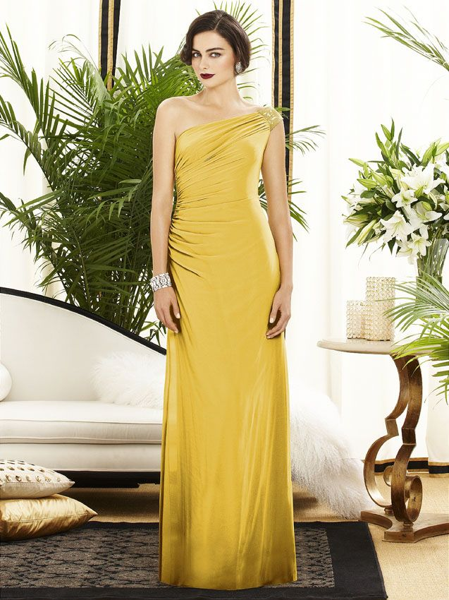 There will be much glamour for your wedding day when the bridal party wears their Dessy 2884 Bridesmaid dresses, fashioned in lux chiffon with sequin detail at the one shoulder of the exquisite gown. #timelesstreasure