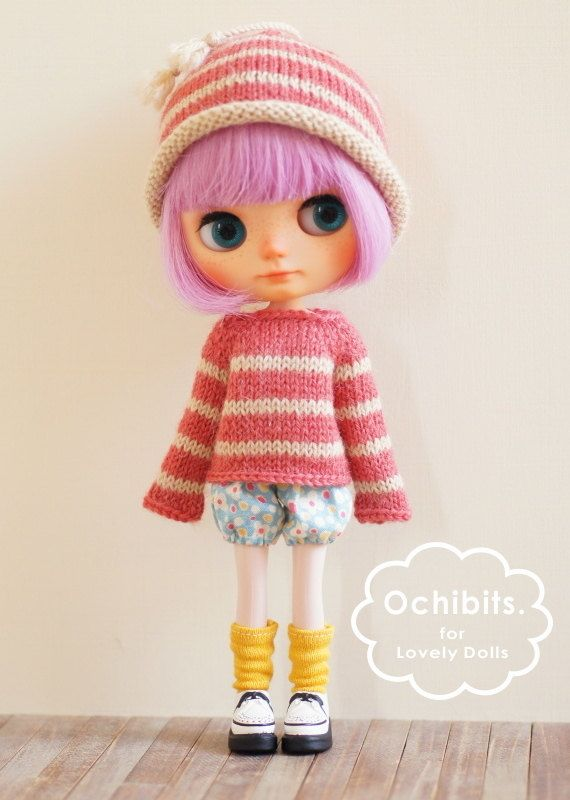 Hand-knitted set - BEIGE x PINK for middie blythe
