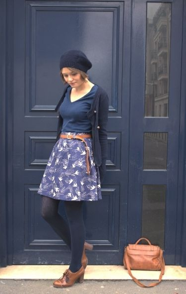 Love this concept: Add tights & sweater to a summer skirt & tee for a fall look!…