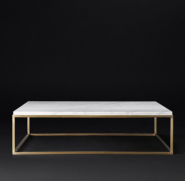 RH Modern's Nicholas Marble Square Coffee Table:Pairing marble's luminous  warmth with metal's cool luster - RH Modern's Nicholas Marble Square Coffee Table:Pairing Marble's