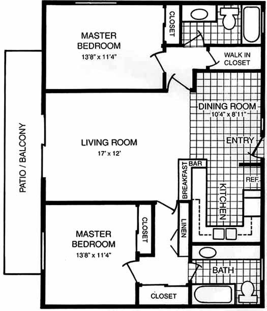 Double master suite floor plans thefloors co for Dual master bedroom floor plans