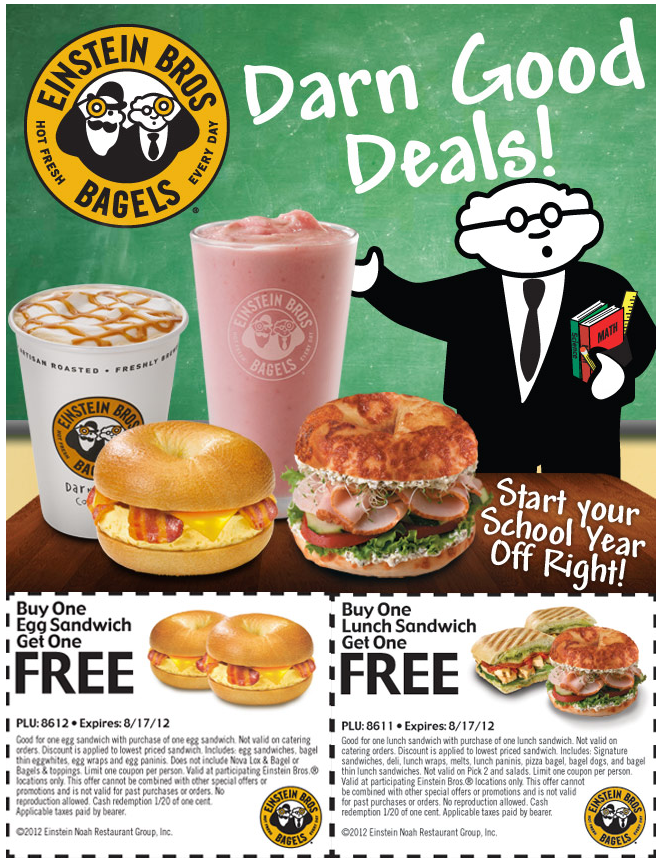 Second Egg Or Lunch Sandwich Free At Einstein Bagels Coupon Via The Coupons App Einstein Bagels Sandwiches For Lunch Printable Coupons