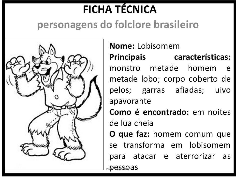 Lobisomem Folclore Ficha Tecnica Fundamental Ativida
