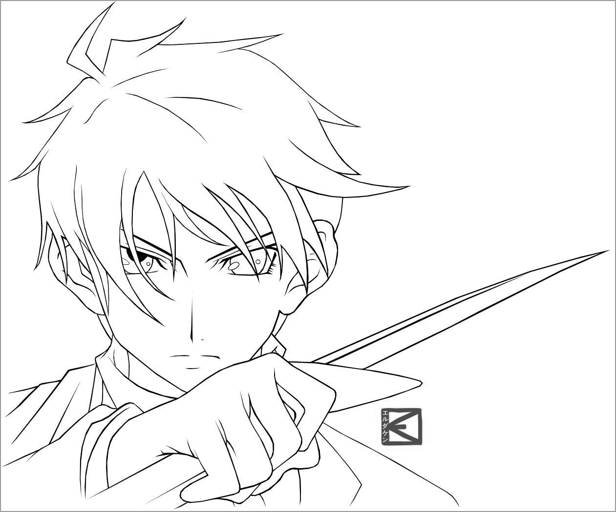 Anime Boy Coloring Pages Character In 2021 Anime Anime Drawings Coloring Pages For Boys [ 1050 x 1261 Pixel ]
