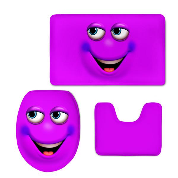 HUGSIDEA Candy Color Emoji Bathroom Toilet Set Cover Wc Seat Bath Mat Holder Closestool Lid
