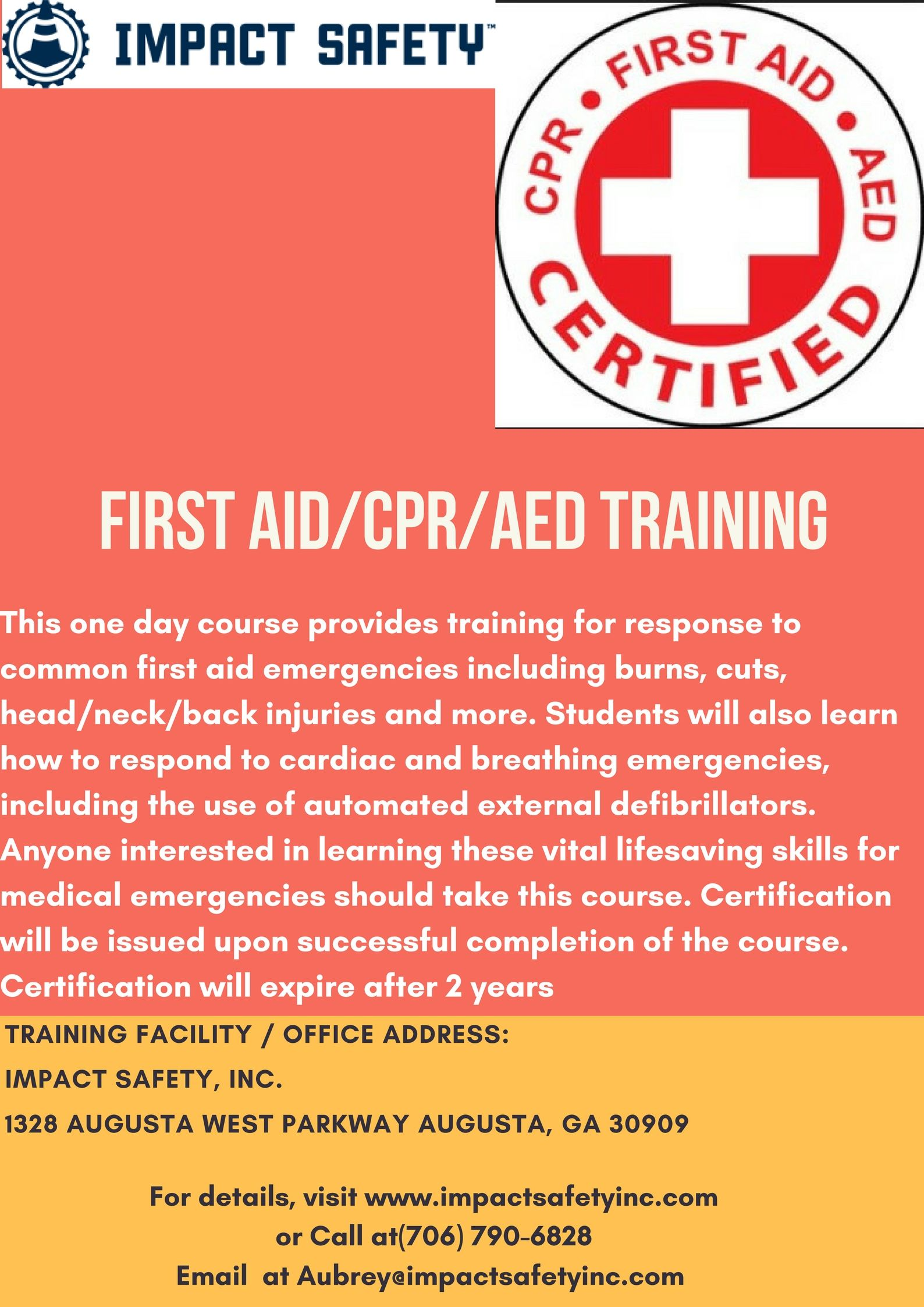 First aidcpraed 95 per student this one day course provides first aidcpraed 95 per student this one day course provides training for response to common first aid emergencies including burns cuts headneckback xflitez Choice Image