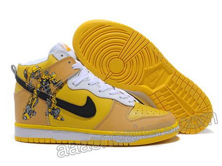 new style 3c550 265f4 Transformer Bumble Bee Nike Dunk SB High Top Men Fast Shipping Yellow Nikes,  Yellow Sneakers