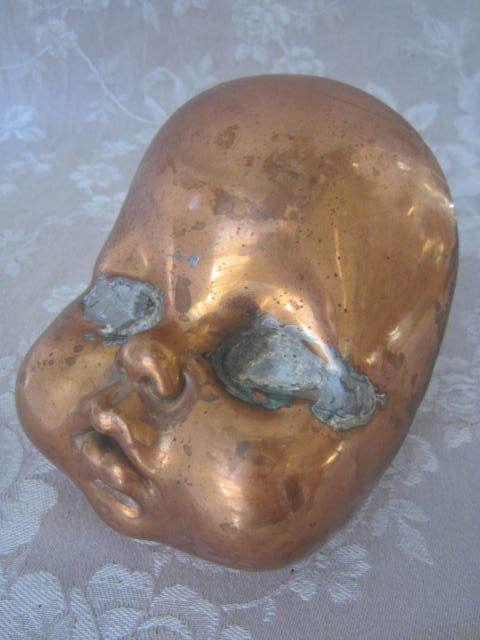 OMG ! Vtg Industrial BABY DOLL HEAD MOLD Cheeky Blinded Eyes CREEPY COPPER/BRASS #FRANCE