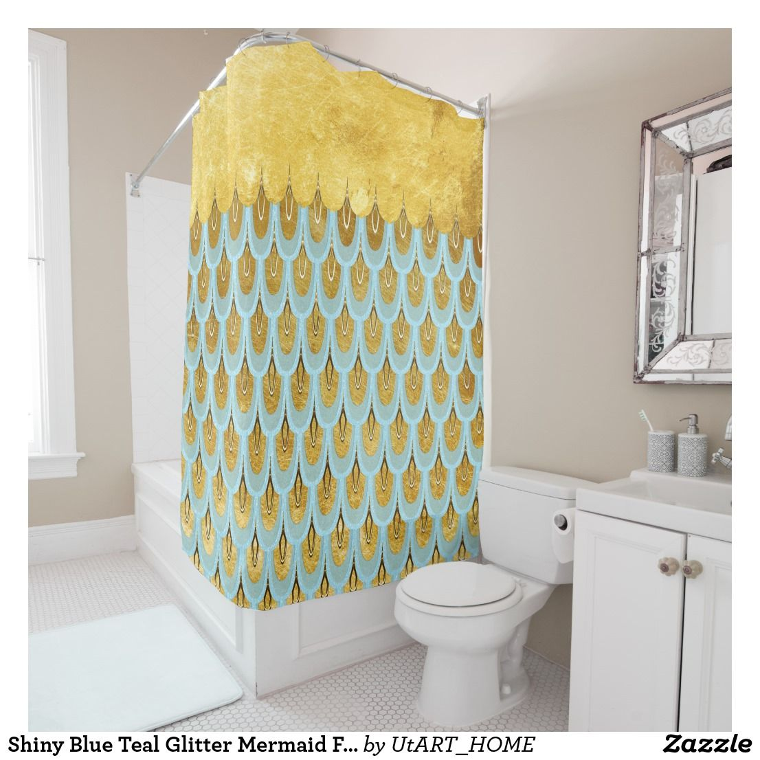 Shiny Blue Teal Glitter Mermaid Fish Scales Shower Curtain