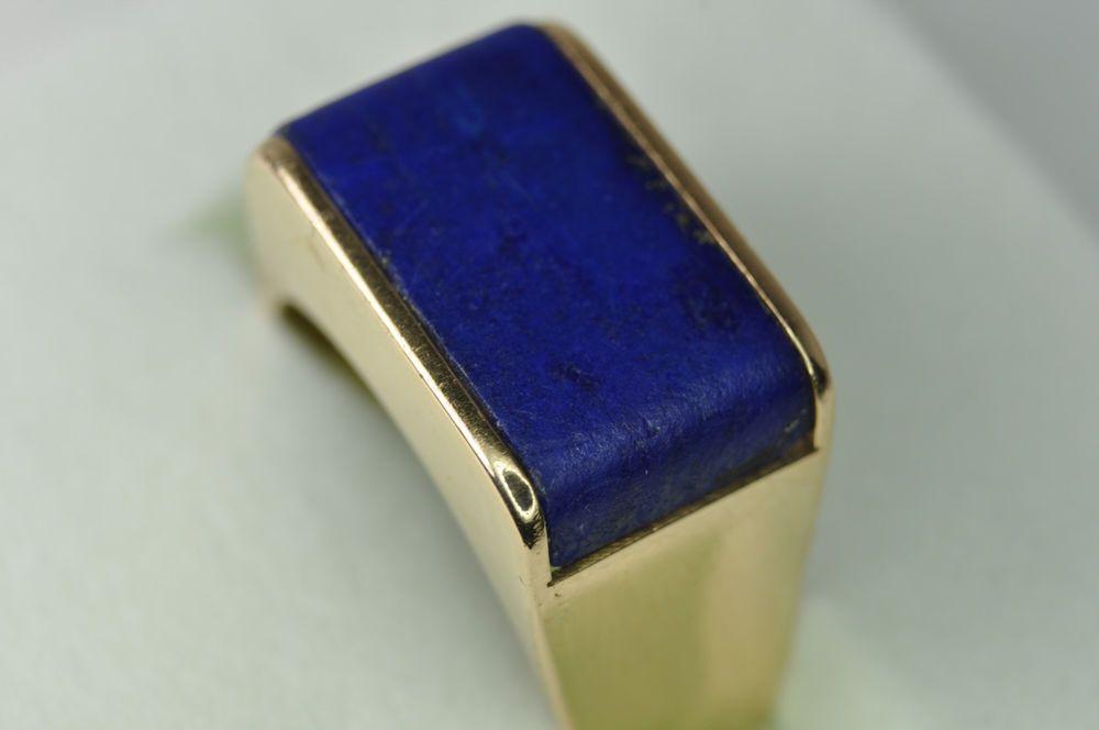 Handsome Vintage Men s 14k Yellow Gold Lapis Ring eBay