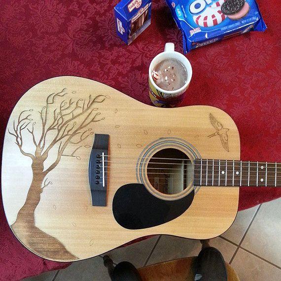 Custom Wood Burned Acoustic Guitar Jasmine S35 By Takamine Guitar Design Guitar Guitar Pics