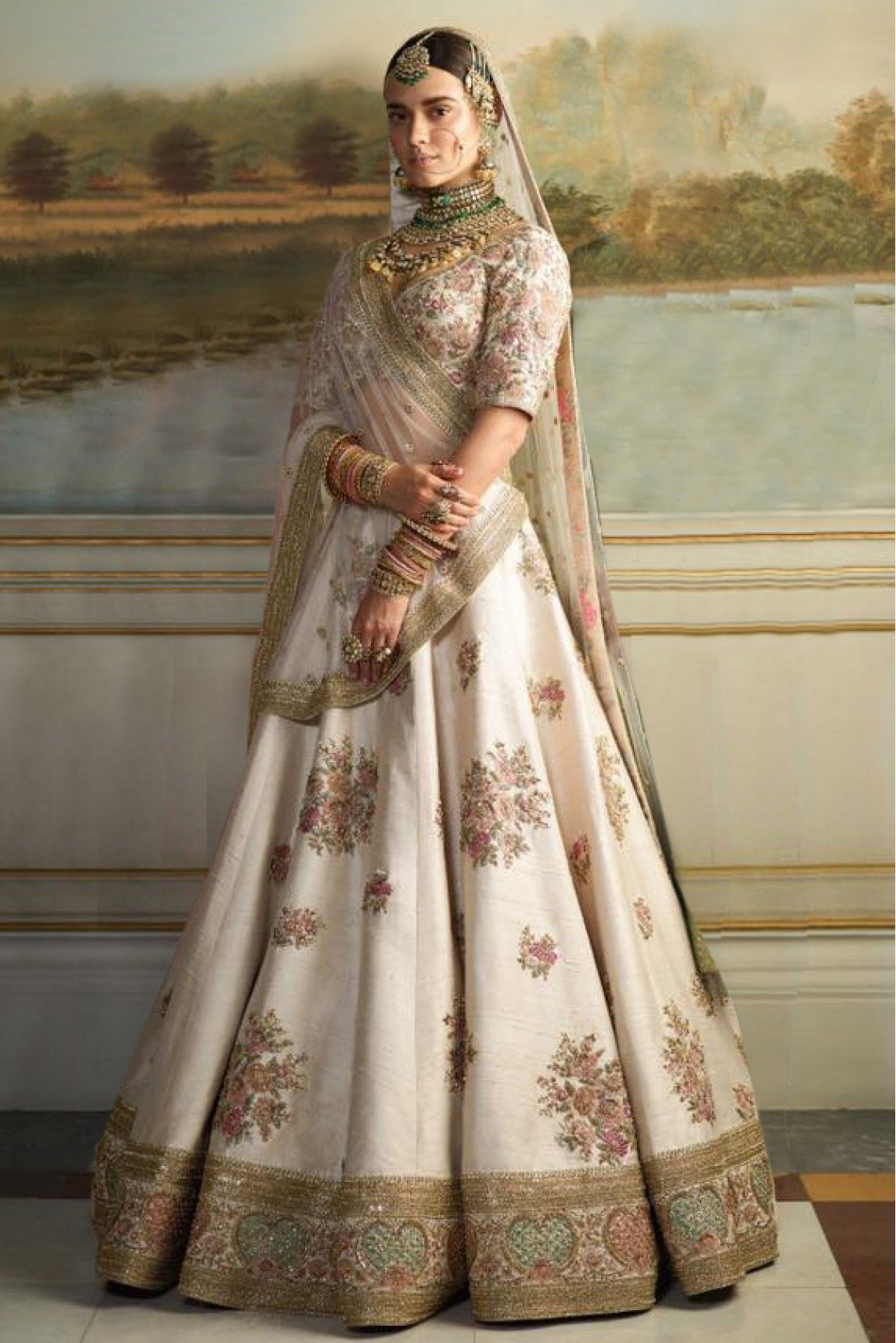 891252f44 Buy Silk Lehenag Choli In Cream Colour @ ninecolours.com. Customize  Tailoring available!