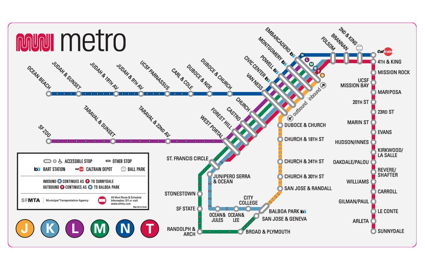 Metro de San Francisco San Francisco subway infografia