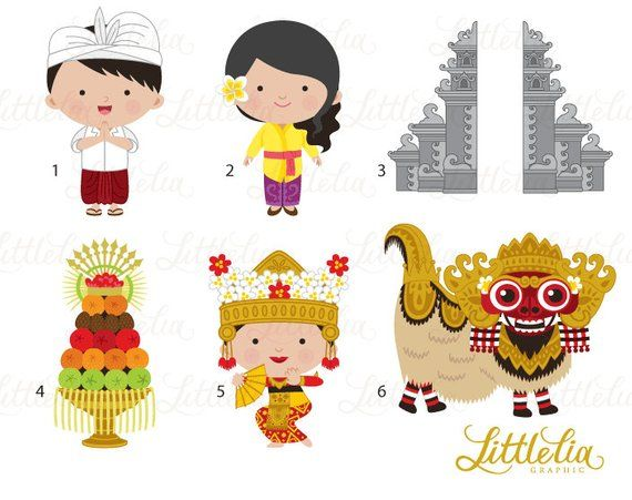 Bali Clipart Paradise Island Clipart 16032 Etsy In 2021 Clip Art Baby Drawing Drawing For Kids