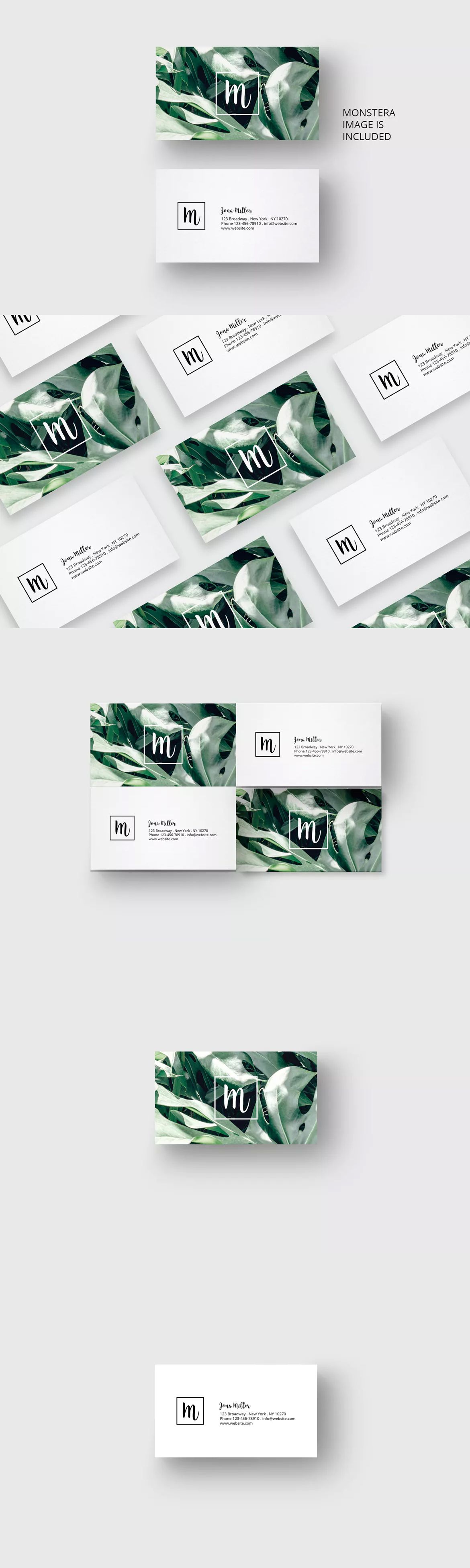 Business card with monstera leaf design template psd us size business card with monstera leaf design template psd us size reheart Choice Image