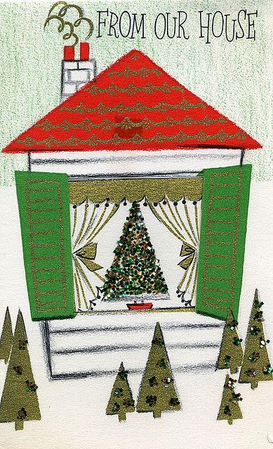 House Christmas Card Vintage christmas, Leaves and Gold
