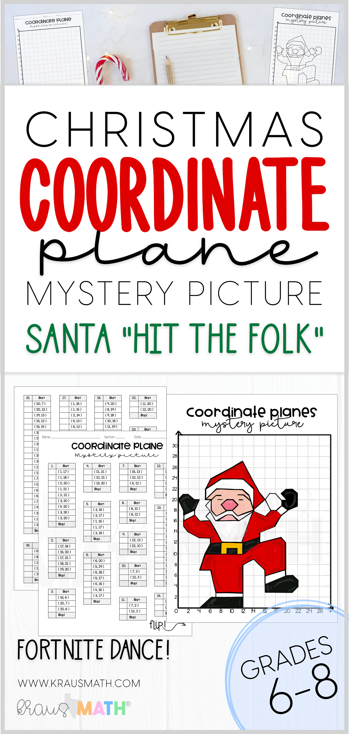 Santa Dance Hit The Folk Coordinate Plane Activity 1st
