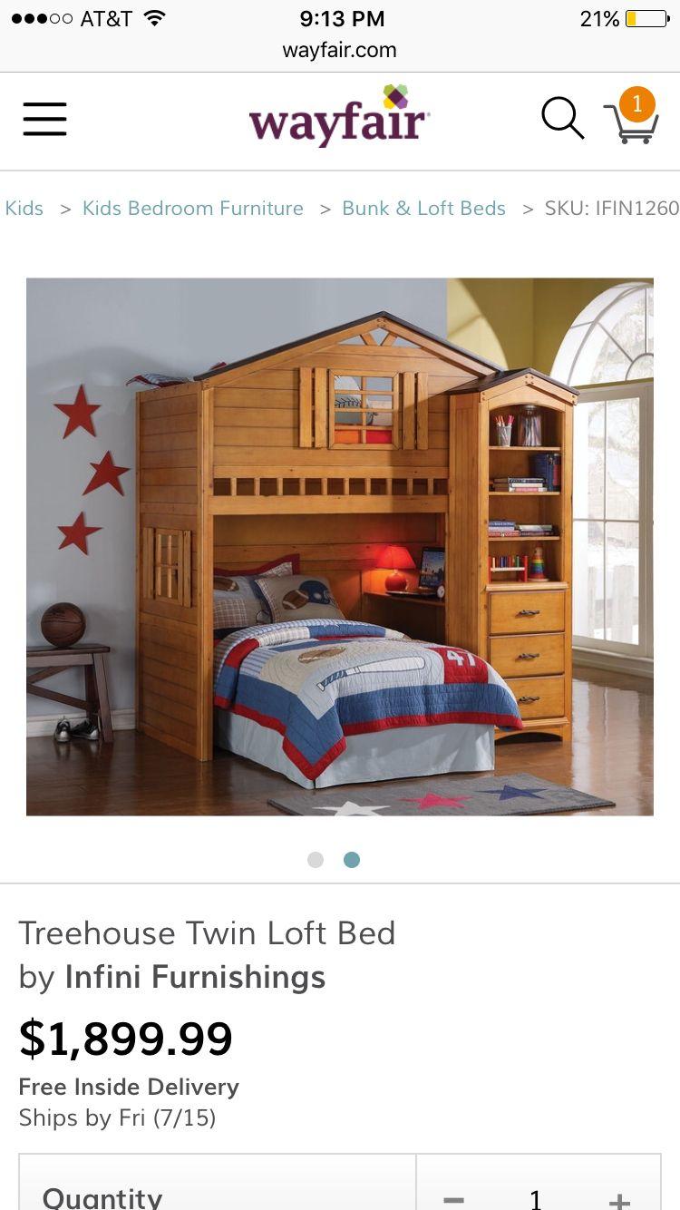 Acme 10160 Rustic Oak Tree House Twin Loft Bed with Desk Bookcase