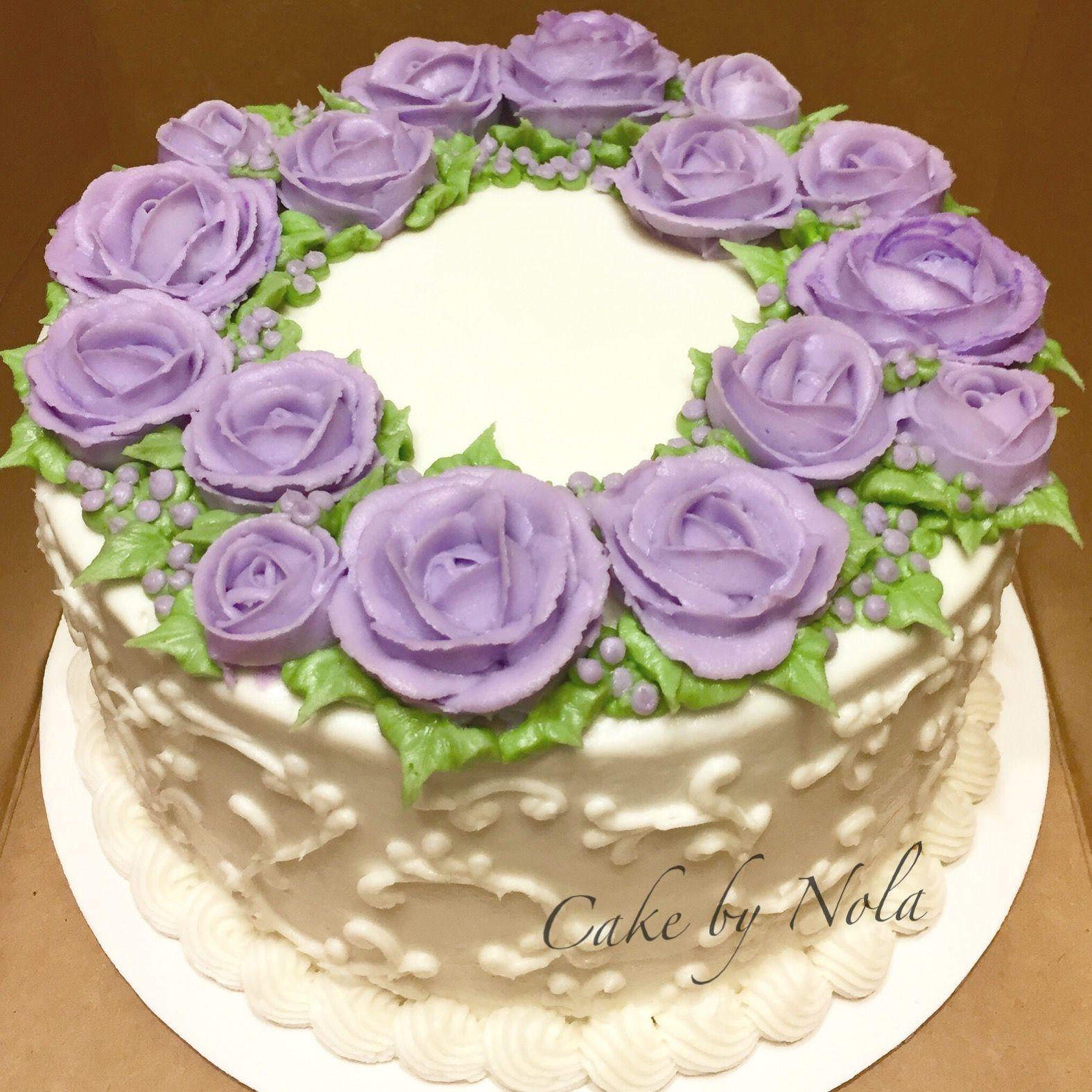Lavender buttercream rose cake...#cakedecorating # ...