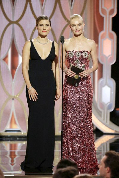 Presenters Sophia Bush and Kate Bosworth speak onstage during the 73rd Annual Golden Globe Awards at The Beverly Hilton Hotel on January 10, 2016 in Beverly Hills, California.
