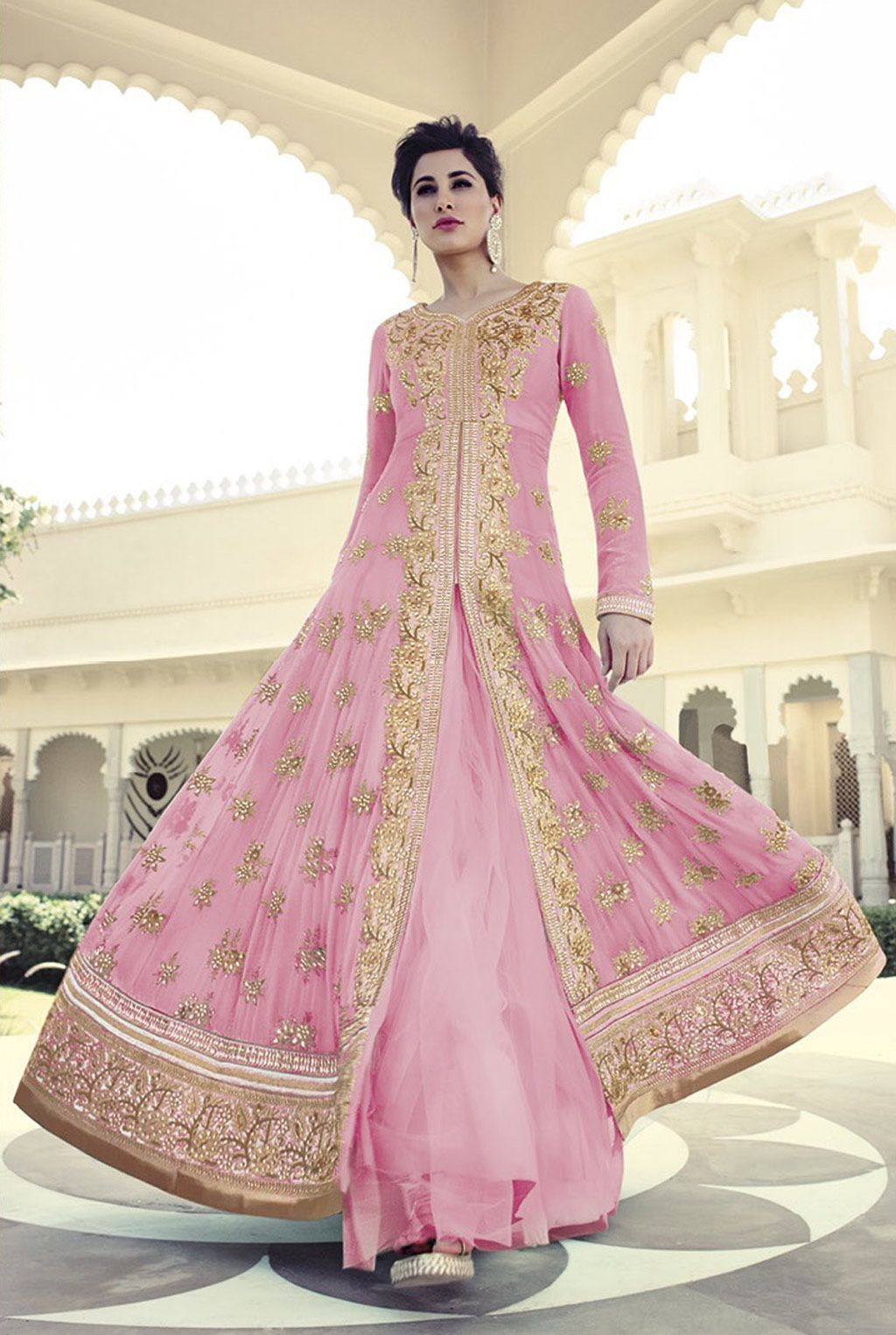Nargis Fakhri Pink Georgette Designer Anarkali Suit 61851 | fashion ...