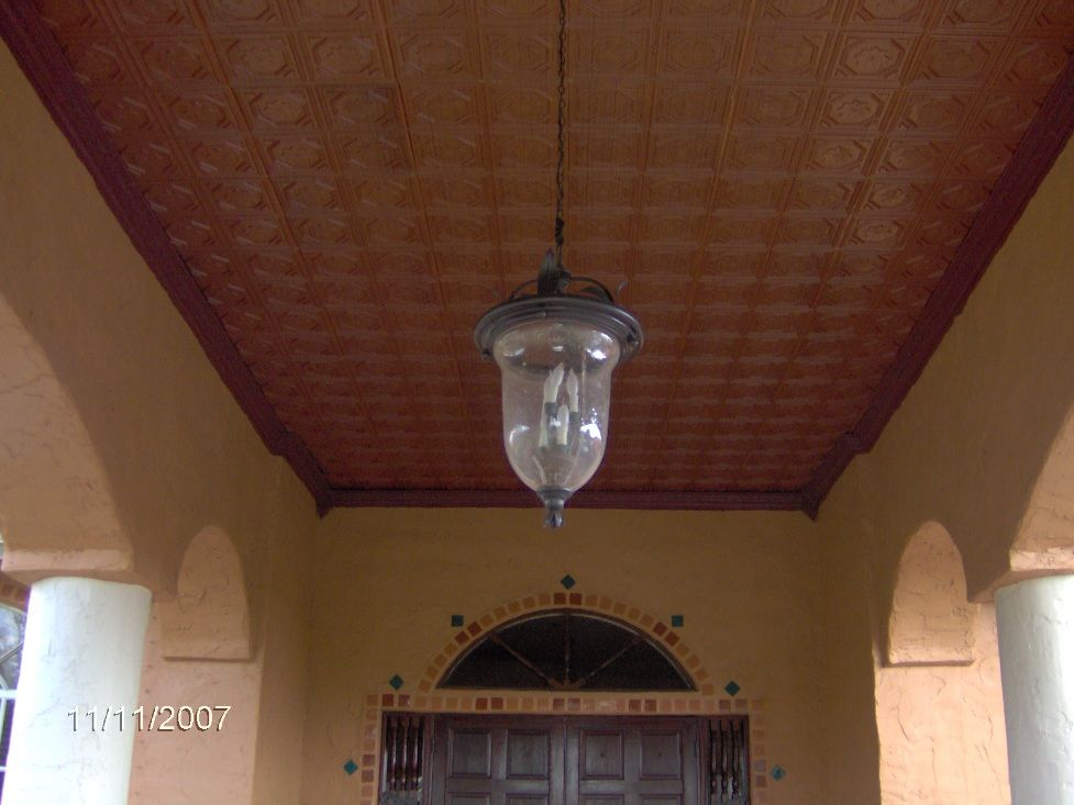 pvc faux tin ceiling tiles outdoor patio entryway ceiling after