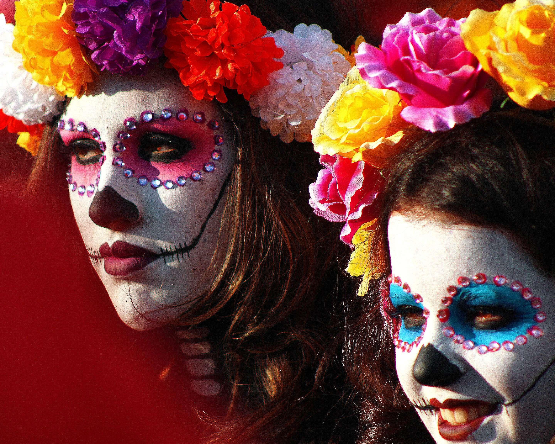 Catrina Colorful Day Of The Dead Da De Muertos Makeup Mexico Wallpaper And Background