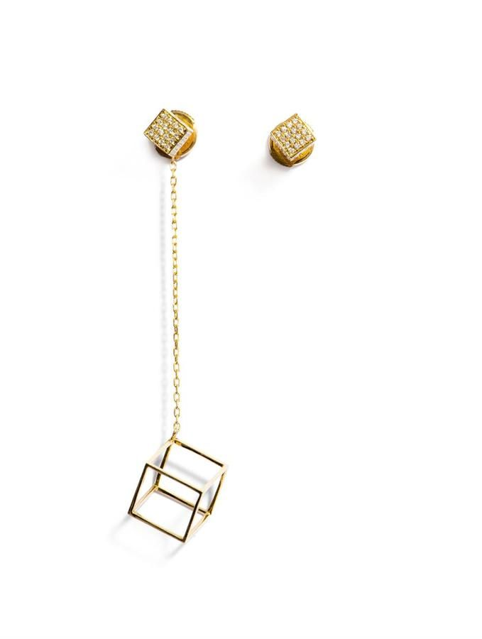 Noor Fares Diamond & gold asymmetrical cube earrings on shopstyle.com