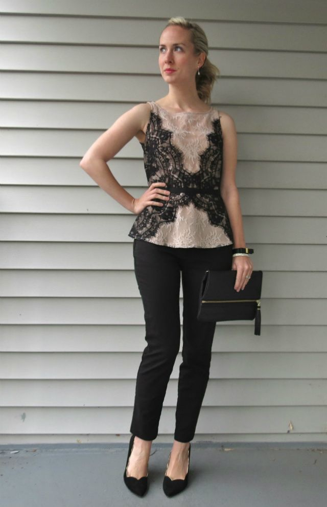 Loft Lace Top Ann Taylor Slim Black Pants Wear To Wedding H M
