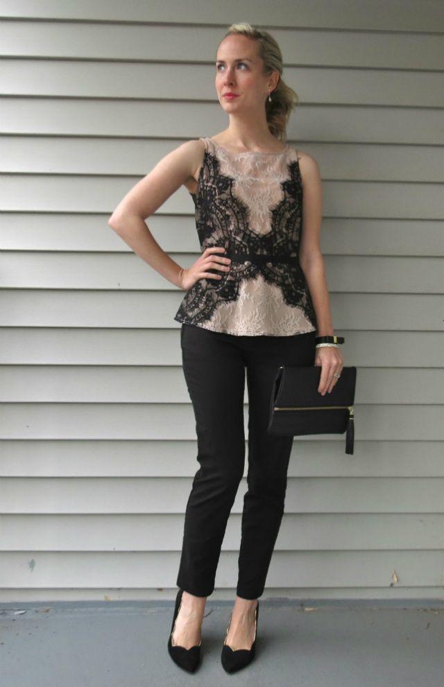 Loft Lace Top Ann Taylor Slim Black Pants Wear To Wedding H M Clutch Mac Please Me Matte Indianapolis Style Blog