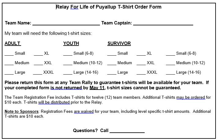 Relay For Life TShirt Order Form   TShirt Order Forms