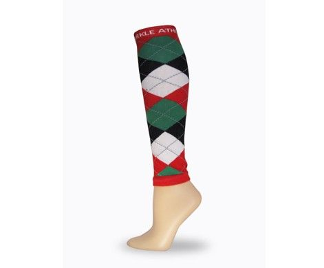 Red, Green and Black Argyle Race Legs. Sparkle Athletic's Race Legs are the perfect way to gussy up any running outfit or racing costume. The best part? They're footless, so you can still sport your lucky running socks.
