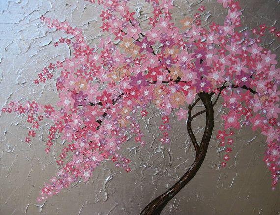 Cherry Blossom Tree Trees Large Abstract Art Zen By Sheerjoy 250 00 Art Tree Art Abstract
