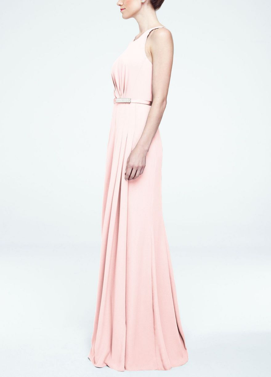 Long Sleevless Crepe Dress with Embellished Belt - David's Bridal