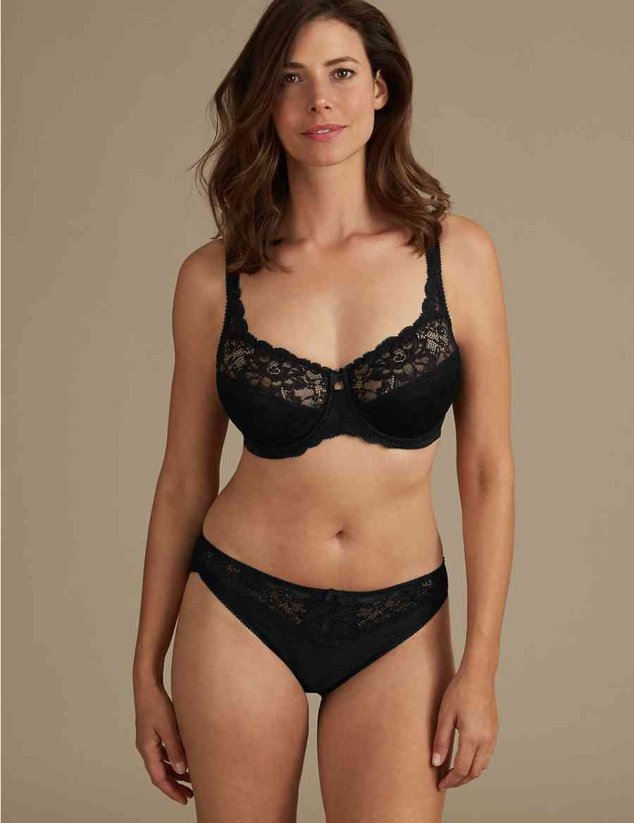 ebee7bf454aae Floral Jacquard Lace Non-Padded Full Cup Bra DD-H