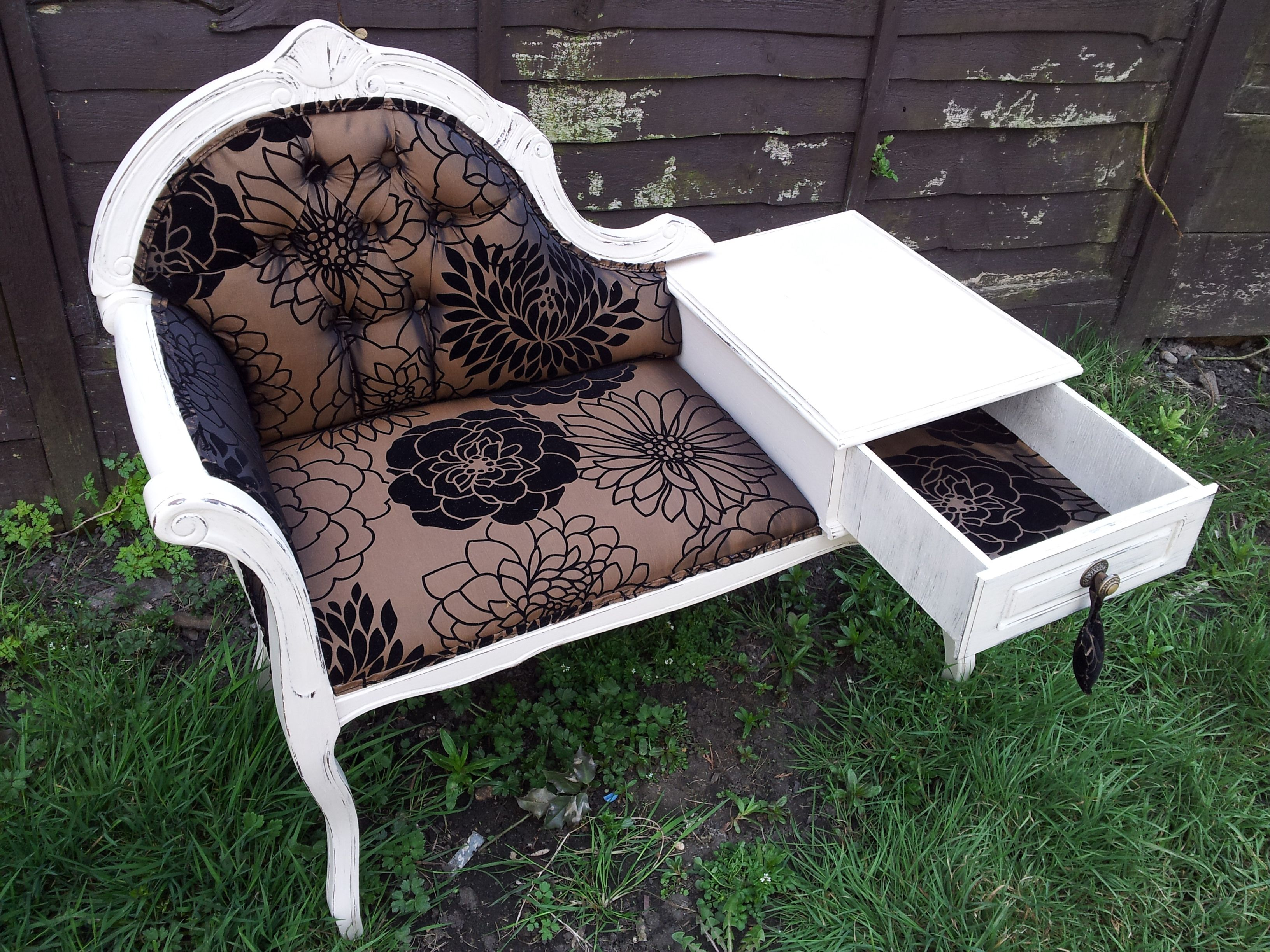 Chaise Longue Telephone Table Chaise Telephone Table Re Upholstered And Distressed Done By