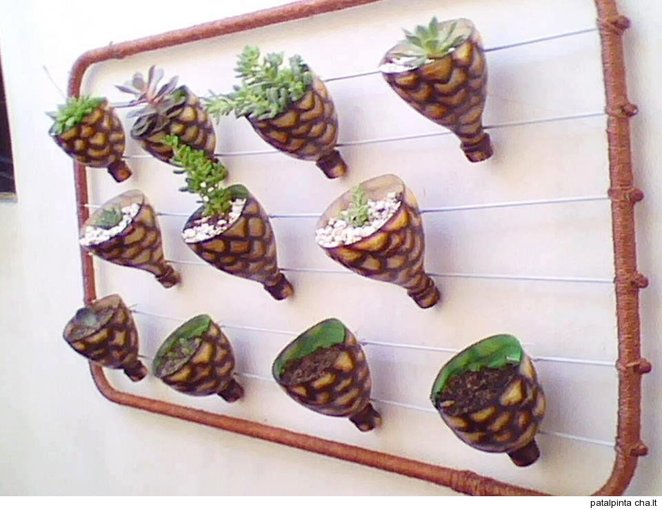 Home decorarions from recycle flower pots made from top for Water bottle recycling ideas