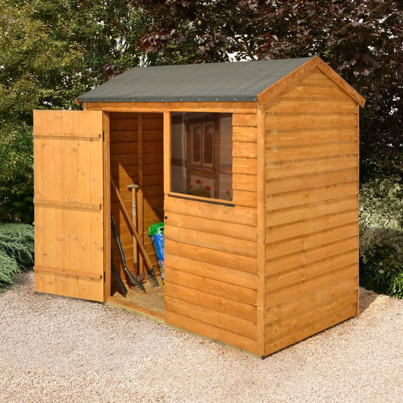 larchlap 6x4 reverse apex overlap wooden shed assembly required departments diy at bq - Garden Sheds B Q