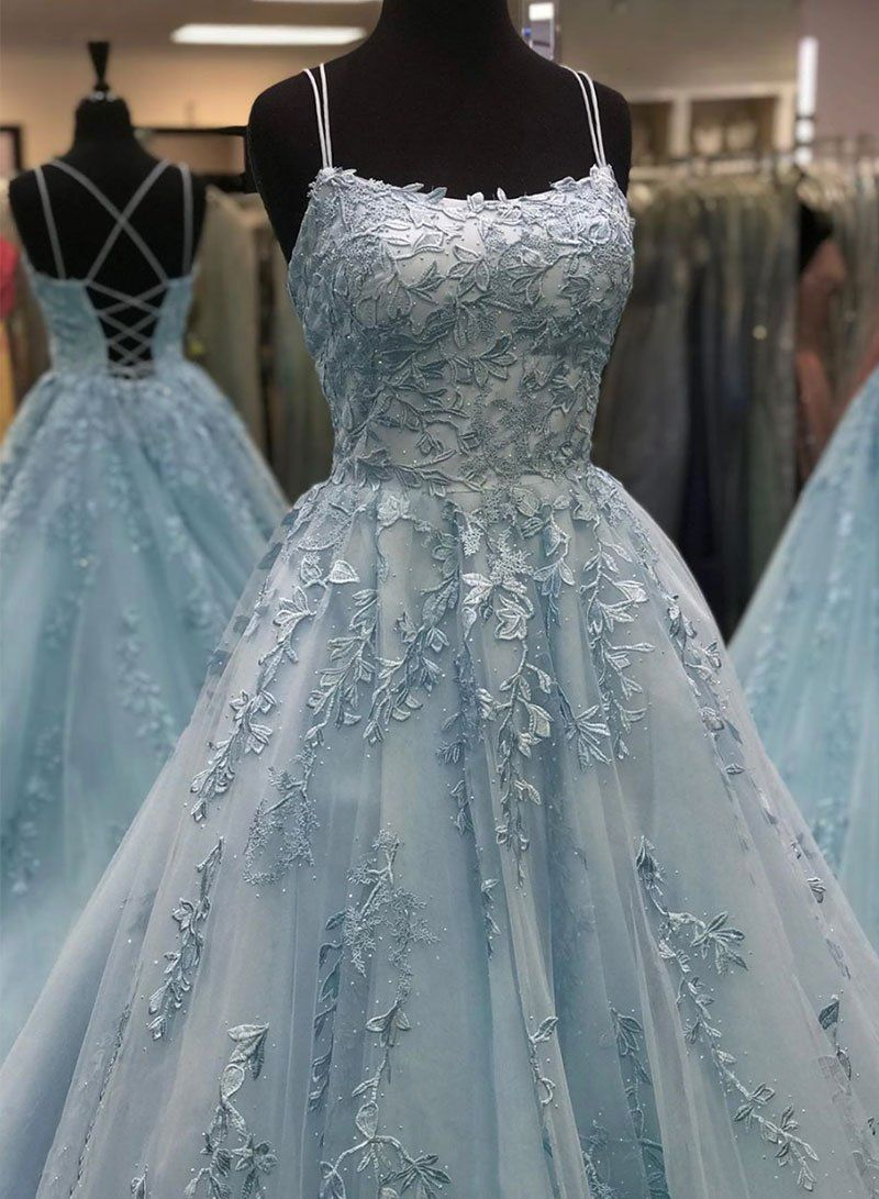 Beautiful A Line Spaghetti Straps Blue Long Prom/Evening Dresses with Appliques