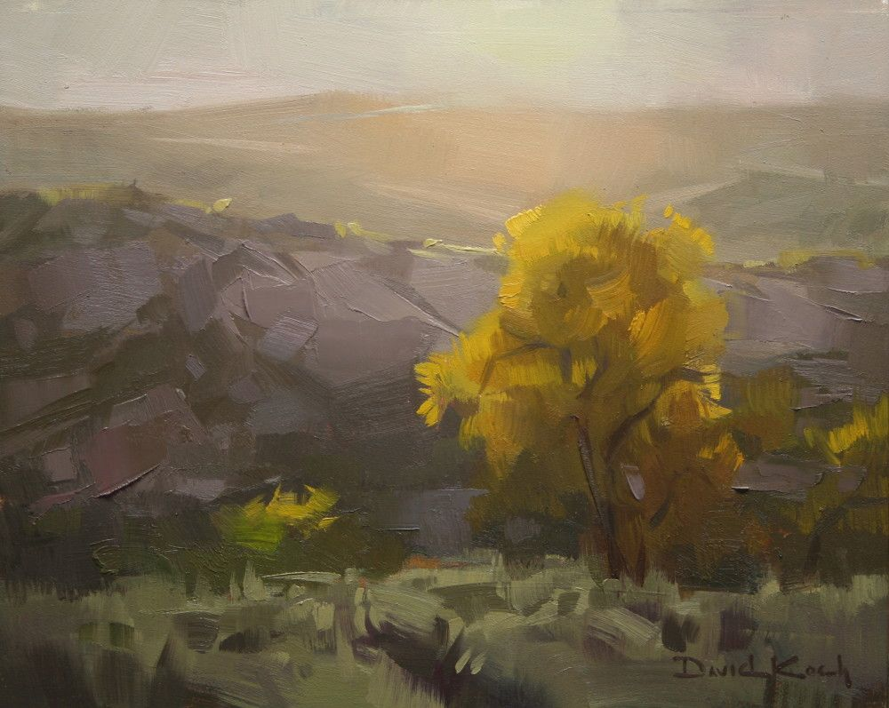 """Sunlit Cottonwoods,"" David Koch, 8x10, oil on linen"