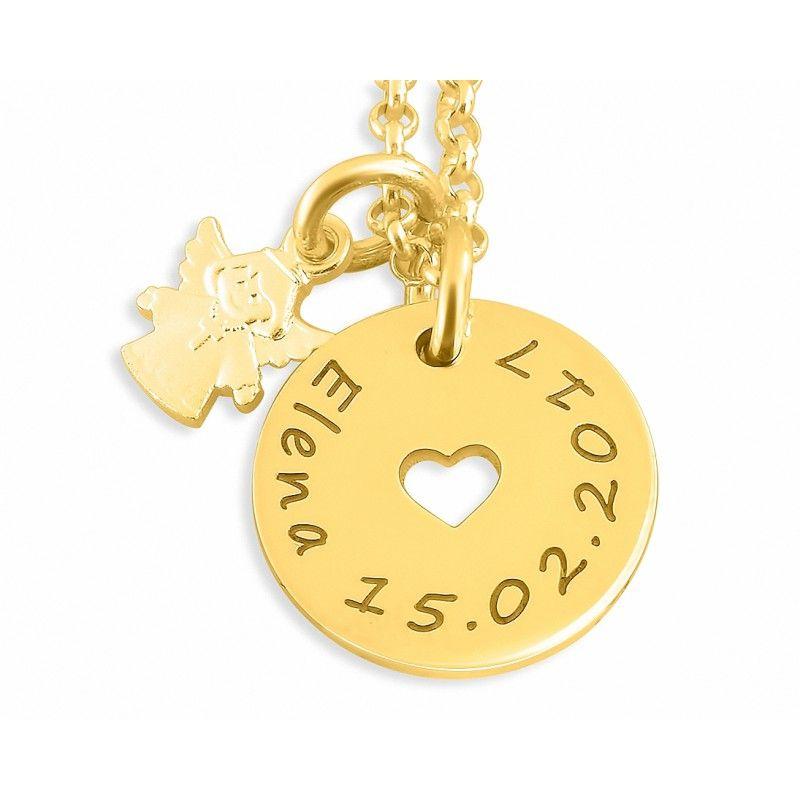 Eine wunderschöne, zarte Kette komplett aus 925 Sterling Silber echt vergoldet und hochwertig graviert. Neben dem Namensplättchen hängt ein schöner, kleiner Engel als Anhänger. Diese Kette eignet sich perfekt als Kinderkette oder auch als Kette für Erwachsene.